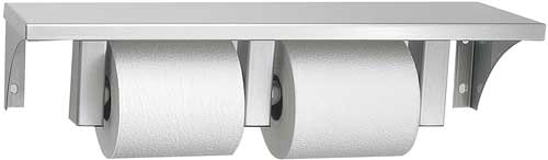 Stainless Steel Shelf And Double Toilet Paper Holder