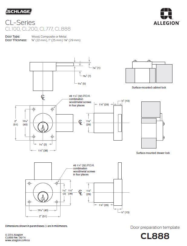 Schlage Cl Series Portable Locks Heavy Duty Cabinet Locks